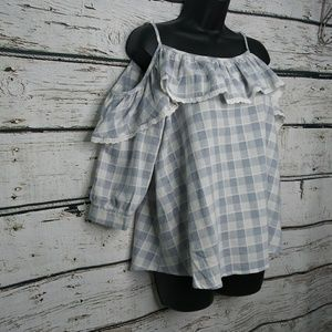 Karlie/ Cold Shoulder Blue Check Blouse